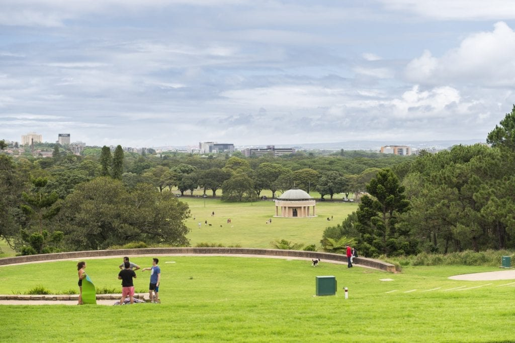 Sydney, Australia - November 8, 2015: Centennial Park Sydney on a sunday with people enjoying their leisure activities outdoors. Image taken from the Belvedere Amphitheatre location.