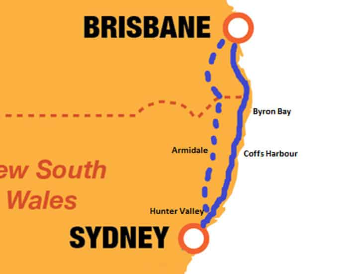 syndey-to-brisbane-map